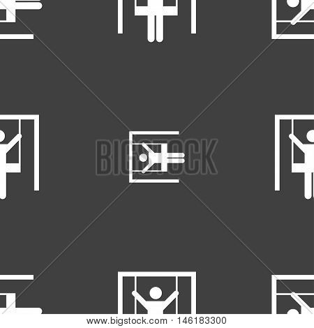 Child Swinging Icon Sign. Seamless Pattern On A Gray Background. Vector