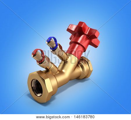 Balancing Valve Without Drain For Plumbing 3D Rendering On Fradient Background