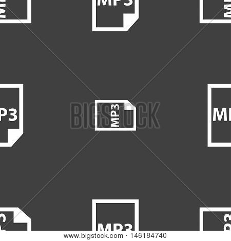 Mp3 Icon Sign. Seamless Pattern On A Gray Background. Vector