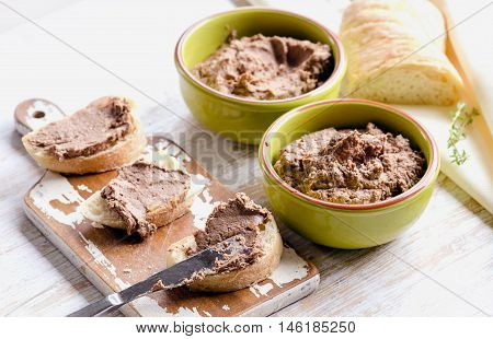 Chicken Liver Pate With Bread On A Wooden Table