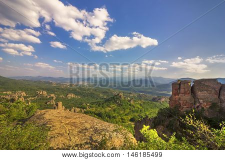 Exciting day view from Belogradchik rocks. Bulgaria.