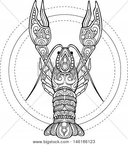 Vector hand drawn doodle cancer illstration. Ornate crawfish drawing for coloring book