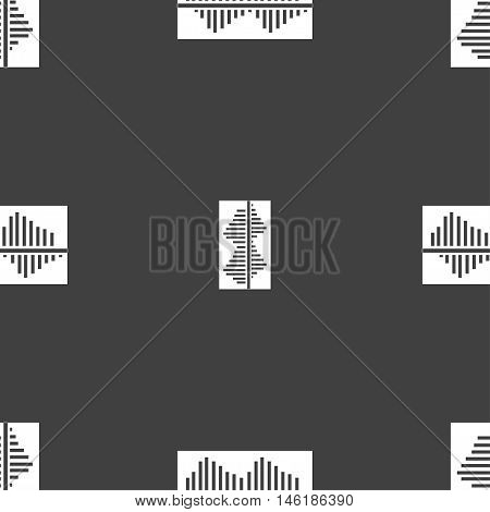Equalizer Icon Sign. Seamless Pattern On A Gray Background. Vector