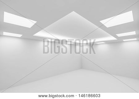 Abstract architecture white room interior - empty white room with white wall white floor white ceiling with square ceiling lamps and hidden ceiling lights wide view from corner 3d illustration