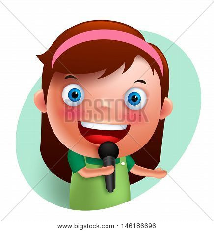Young singer girl vector character singing and holding microphone isolated in white background. Vector illustration.