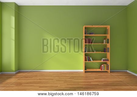 Empty room with green wall wooden parquet floor and wooden bookshelf with many color books on shelves with light from window on green wall and parquet floor minimalist interior 3D illustration