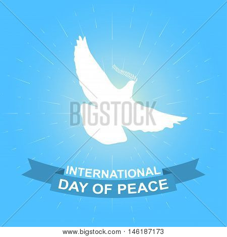 International day of peace vector background. Illustration for International peace day with dove, olive branch and ribbon.
