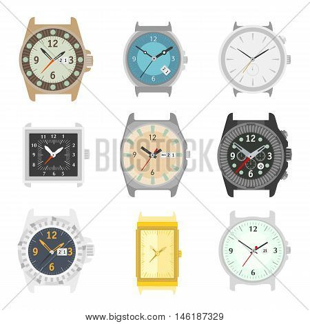 Set of vector watches. Stylish accessory for men. Wristwatch collection. time symbol. Different watch on white background. Flat style illustration.