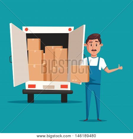 Good worker in uniform. Cartoon vector illustration. Relocation. Move. Character design. Transport company. Box in hand. Cute loader. Boxes with things. Moving service. Van