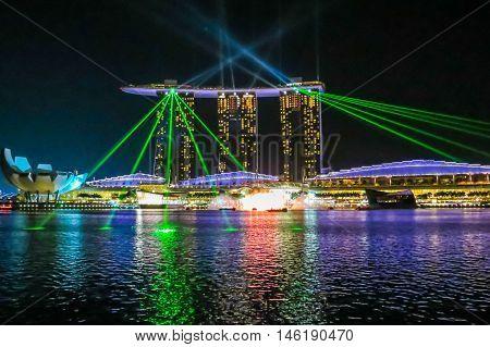 SINGAPORE, REPUBLIC OF SINGAPORE - JANUARY 08, 2014: Laser Show at the Marina bay by night, Singapore
