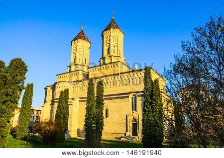Beautiful and religious monastery in Cetatuia, Iasi town, one of the most famous architectural building of Christianity, in Romania, Eastern Europe