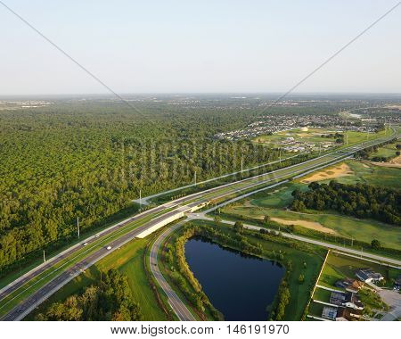 Flying over a Florida highway system near Orlando Florida