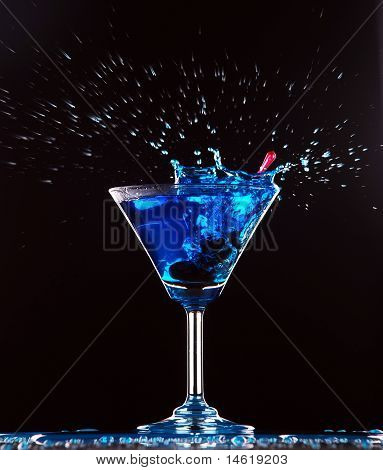 Blue Cocktail Splashing