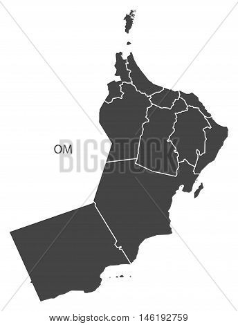 Oman grey map with regions isolated vector high res
