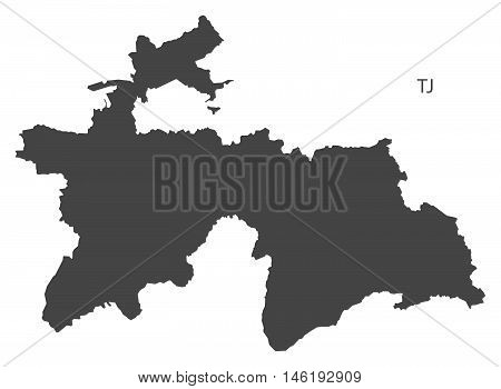 Tajikistan grey map isolated vector high res