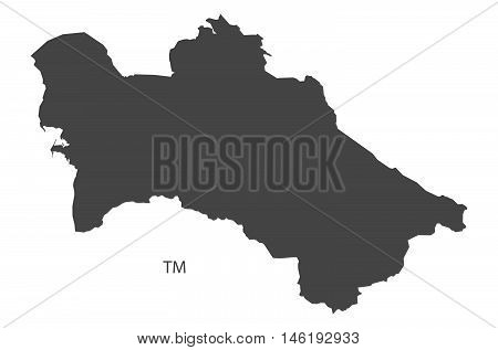 Turkmenistan grey map isolated vector high res