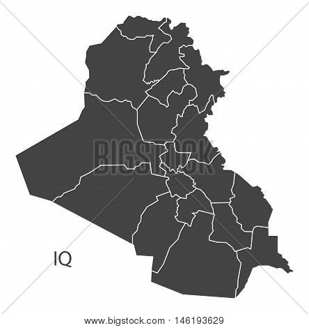 Iraq grey map with regions isolated vector high res