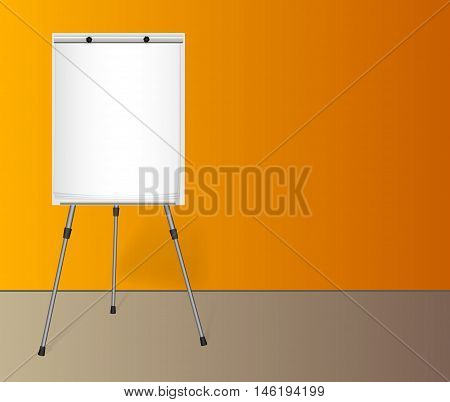 Flip chart with a blank sheet of paper on a tripod near a colored wall in the office.