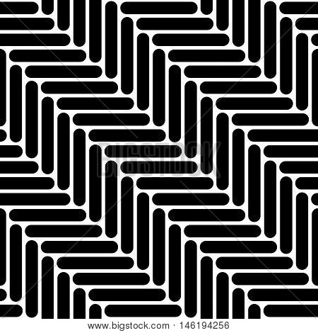 Black and white simple geo herringbone seamless pattern, vector background