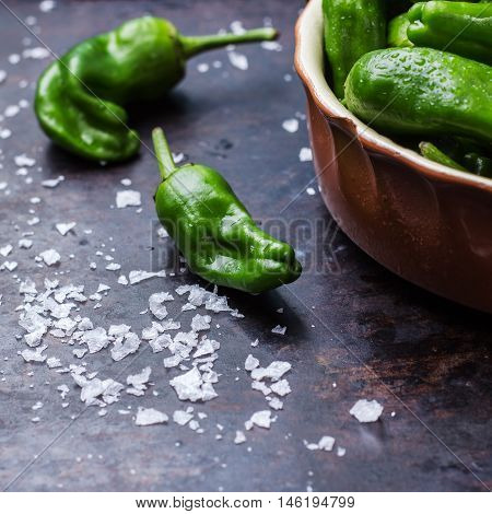 Food and drink, still life, moody concept. Raw green peppers pimientos de padron wth sea salt traditional spanish tapas on a black rusty table. Selective focus
