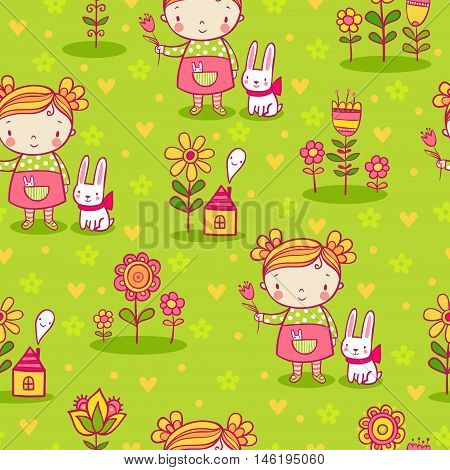 Nice childish background. Cute girl and flowers seamless pattern.