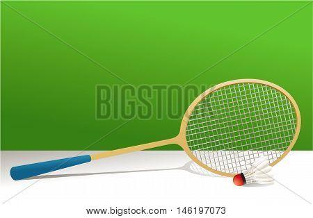 Badminton rocket and shuttlecock - vector illustration