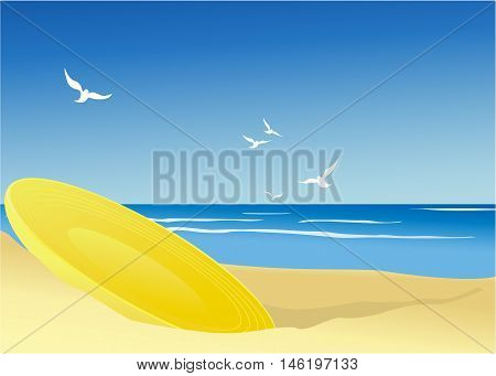Summer game with flying wheel - vector illustration