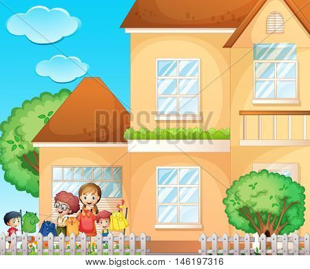 Kids doing chore at home illustration