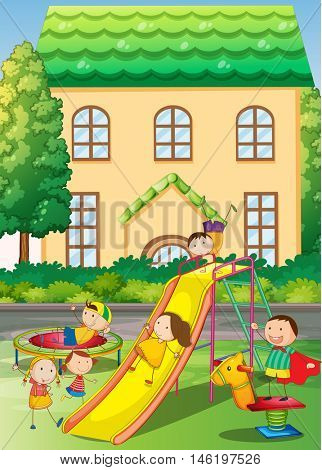 Children playing in the neighborhood playground illustration