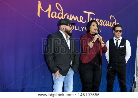 LOS ANGELES - AUG 30:  A.B. Quintanilla, Suzette Quintanilla, Chris Perez at the Selena Quintanilla Wax Figure Unveiling at the Madame Tussauds Hollywood on August 30, 2016 in Los Angeles, CA