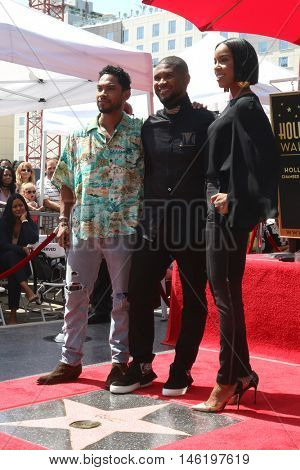 LOS ANGELES - SEP 7:  Miguel, Usher Raymond, Kelly Rowland at the Usher Honored With a Star On The Hollywood Walk Of Fame at the Eastown on September 7, 2016 in Los Angeles, CA