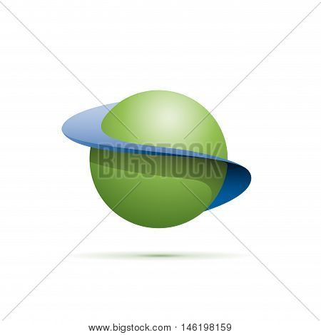 Vector sign abstract shape of sphere with orbits, illustration on white background