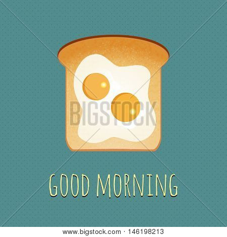 Vector breakfast concept with egg and toast. Light breakfast toast and two fried eggs. Realistic bread slice and eggs with yolk. Morning meal vector. Toast icon isolated. Good morning vector concept.