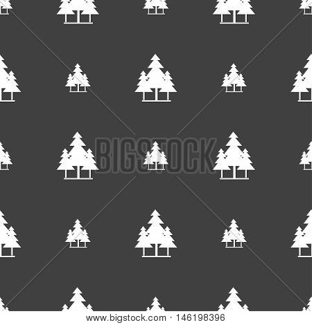 Christmas Tree Icon Sign. Seamless Pattern On A Gray Background. Vector