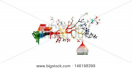 Creative music style template vector illustration, colorful piano, nature inspired instrument background with hummingbirds. Design for posters, brochures, banners, concert, music festival, music shop