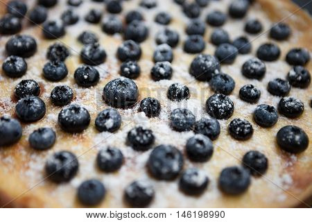 Macro Homemade Blueberry Pie On Wooden Surface
