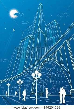 Big bridge, night city on background, vector industrial and infrastructure illustration, vector lines landscape, neon town, people walking, vector design art