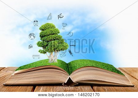 Book with tree on wooden table. Icons on blurred blue sky background.