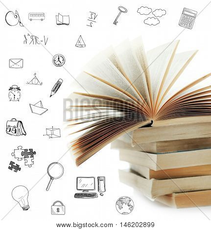 Stack of books with icons on white background.