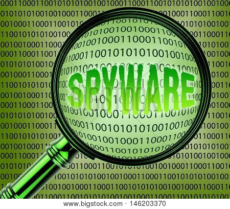 Computer Spyware Shows Internet Spy 3D Rendering