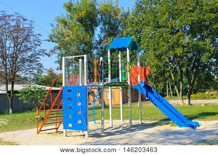 Emply colourfull playground in the city park