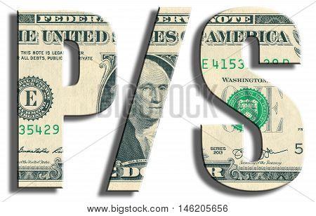 Price To Sales. Us Dollar Texture.