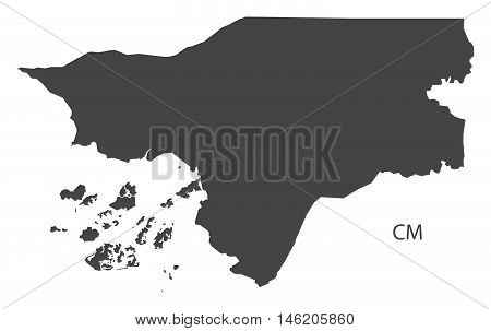 Guinea-Bissau grey map isolated vector high res