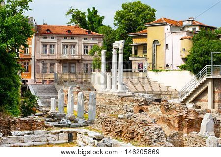 Antique Forum with Odeon in old town of Plovdiv, Bulgaria.