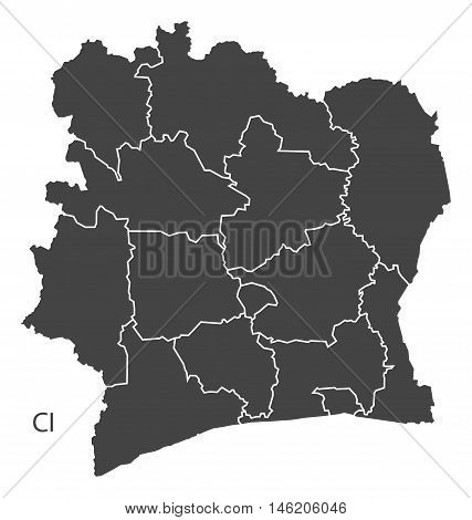 Ivory Coast grey map with regions isolated vector high res