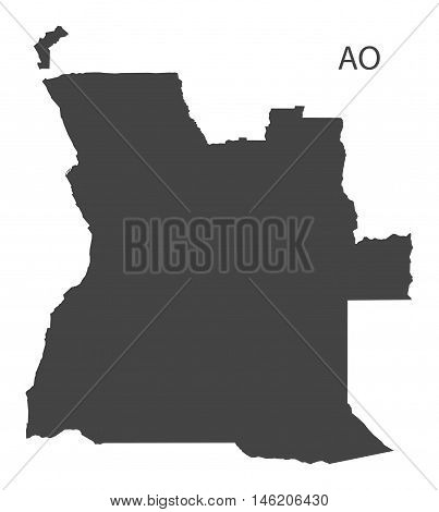 Angola grey map isolated vector high res