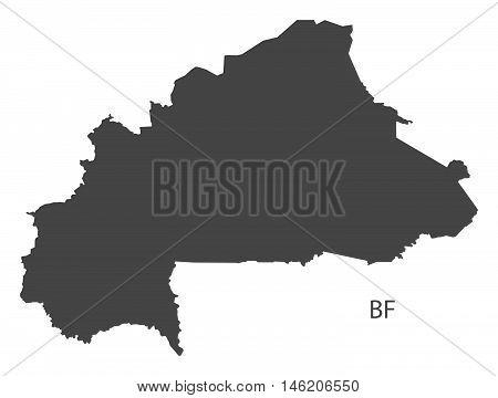 Burkina Faso grey map isolated vector high res