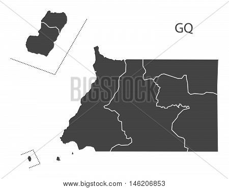 Equatorial Guinea grey map with regions isolated vector high res