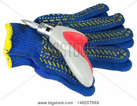 gloves and screwdriver Isolated on white background