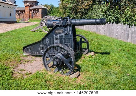 Old Cossack cannons are still on duty in the ancient wooden citadel in Baturin Ukraine.